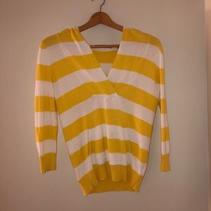Yellow and White Striped Hooded Sweater